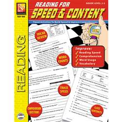 Reading For Speed & Content Gr 2-3 By Remedia Publications