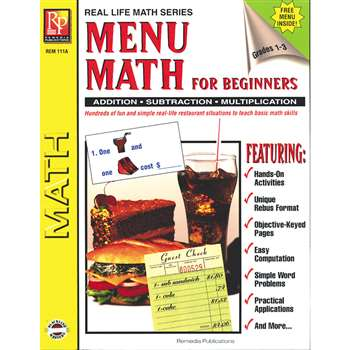Menu Math For Beginners By Remedia Publications