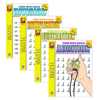 Timed Math Drills 4-Set Books 4 Books By Remedia Publications