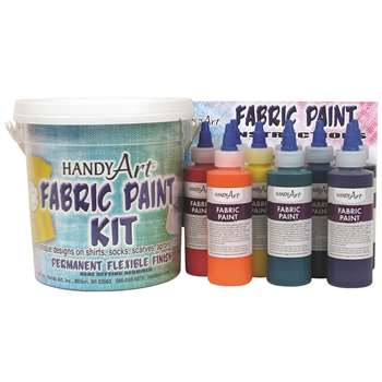 Handy Art Fabric Paint Bucket Kit 9 - 4Oz Bottles By Rock Paint / Handy Art