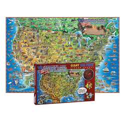 500 Pc Dinos Childrens Us Map Jigsaw Puzzle United, RWPDP002