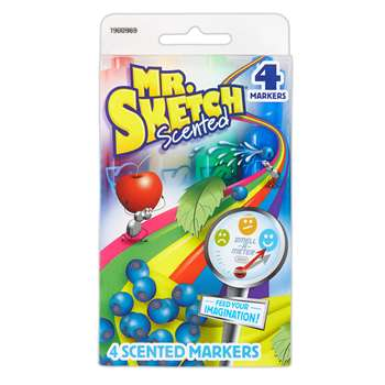 Mr Sketch Scented 4 Color Chisel Tip Markers, SAN1900969