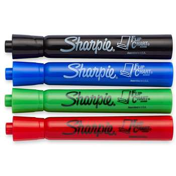 Marker Set Flip Chart 4 Color Black Red Blue Green By Newell