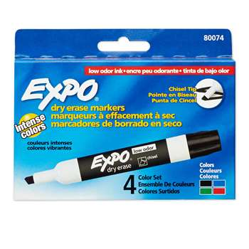 Marker Expo 2 Dry Erase 4 Color Chisel Black Red Blue Green By Newell