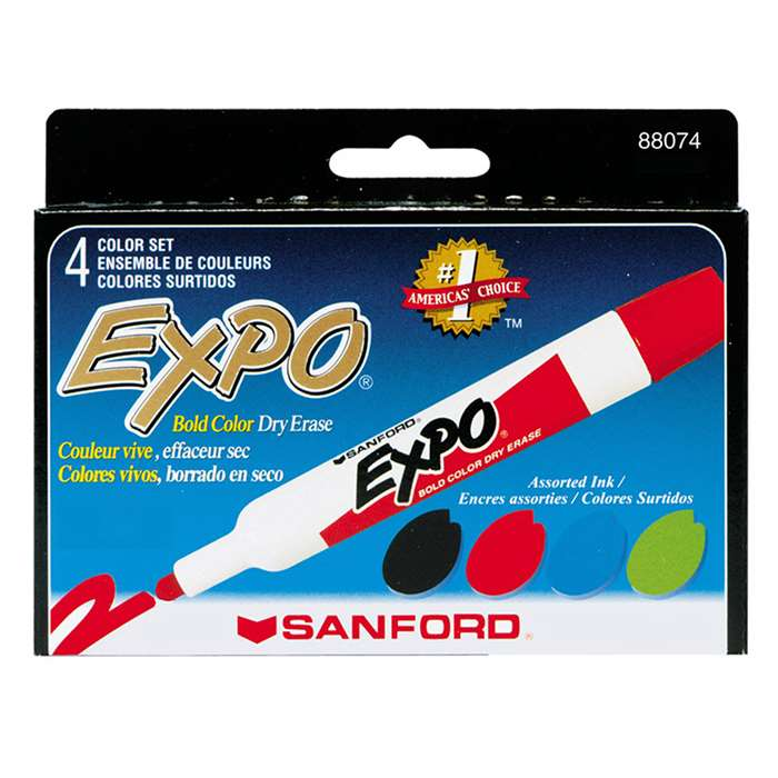 Marker Set Expo Dryerase 4 Color Set Bullet Tip Black Red Blue Green By Newell