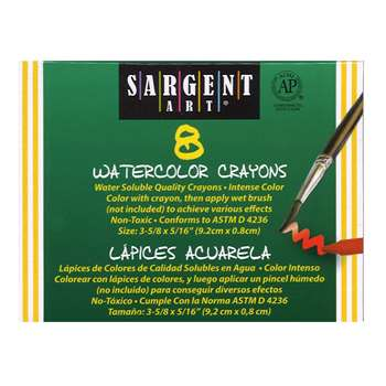 Sargent Art Watercolor Crayons 8Cnt By Sargent Art