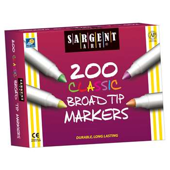 Sargent Bulk Markers, Assort 8 Colors Broad Tip, 200 Markers By Sargent Art