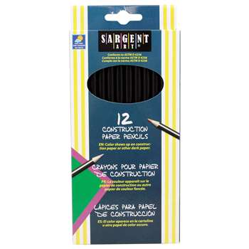 Sargent Colored Pencils For Construction Paper, 12 Color Set Paper 12 Color Set By Sargent Art