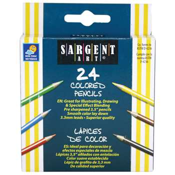 Sargent Art Half-Sized Colored Pencils 24 Color Set By Sargent Art