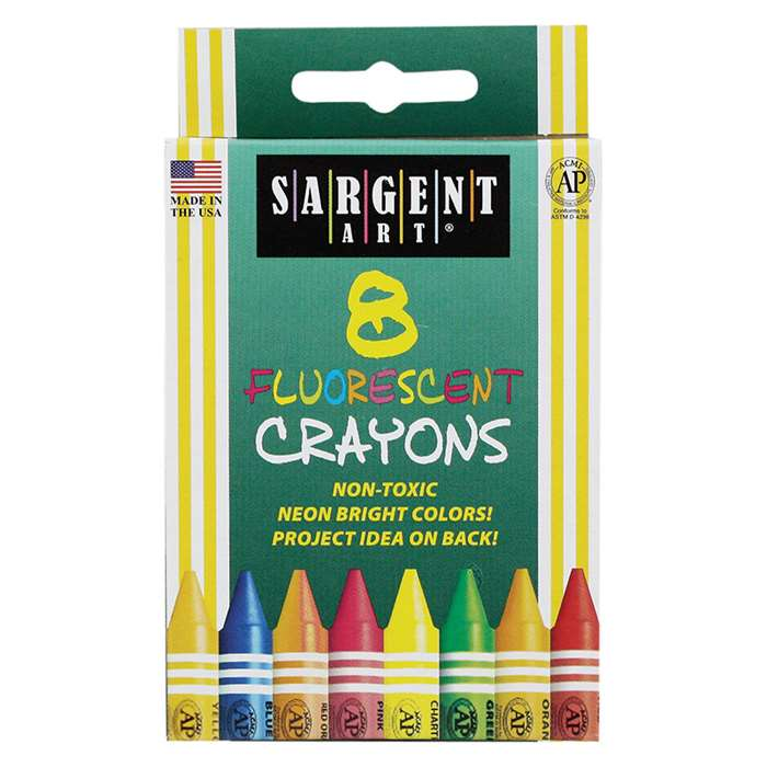 Sargent Art Crayons Fluorescent 8 Count Tuck Box By Sargent Art