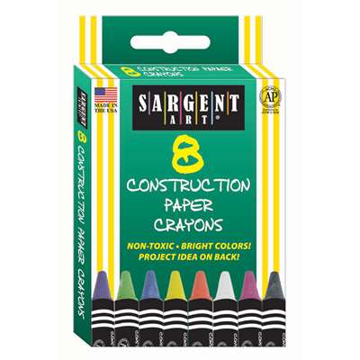 8Ct Construction Paper Crayon Standard Size Peggable Box By Sargent Art