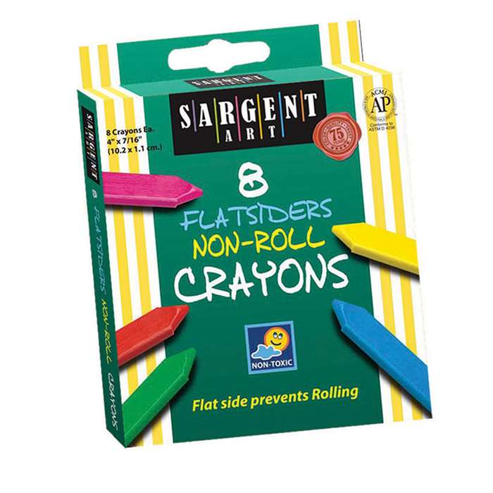 Flatsiders No-Roll Crayons 8 Count By Sargent Art