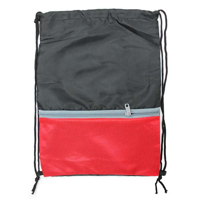 Drawstring Bckpack with Zipper Blk/Rd, SAR985076