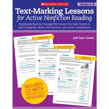 Text Marking Lessons For Active Non Fiction Reading Gr 4-8 By Scholastic Books Trade