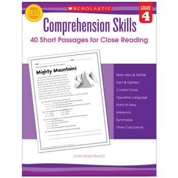 Comprehension Skills Gr 4 40 Short Passages For Close Reading By Scholastic Books Trade
