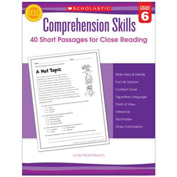 Comprehension Skills Gr 6 40 Short Passages For Close Reading By Scholastic Books Trade