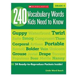 240 Vocabulary Words Kids Need To Know Gr 4 By Scholastic Books Trade