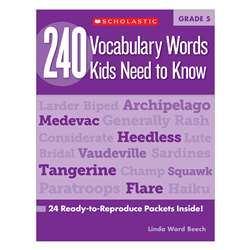 240 Vocabulary Words Kids Need To Know Gr 5 By Scholastic Books Trade