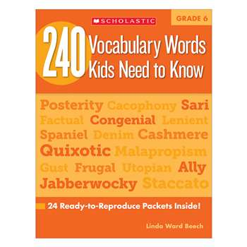 240 Vocabulary Words Kids Need To Know Gr 6 By Scholastic Books Trade