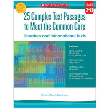 Gr 7-8 25 Complex Text Passages To Meet The Cc Lit, SC-557713