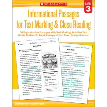Gr 3 Informational Passages For Text Marking & Clo, SC-579379
