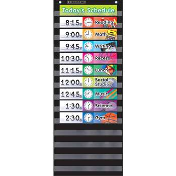 Pocket Chart Daily Schedule Black, SC-583865