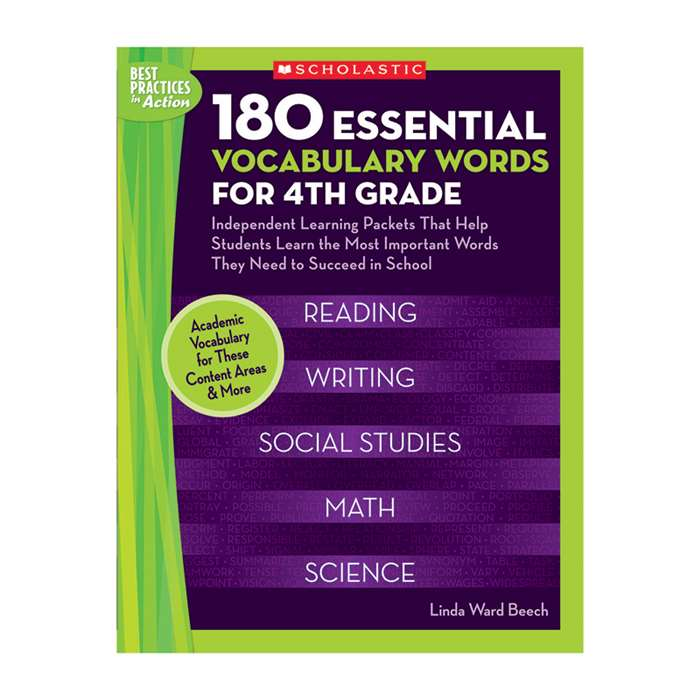 180 Essential Vocabulary Words For 4Th Gr By Scholastic Books Trade