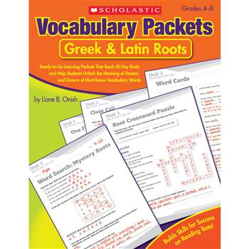 Vocabulary Packets Greek & Latin Roots Gr 4-8 By Scholastic Books Trade