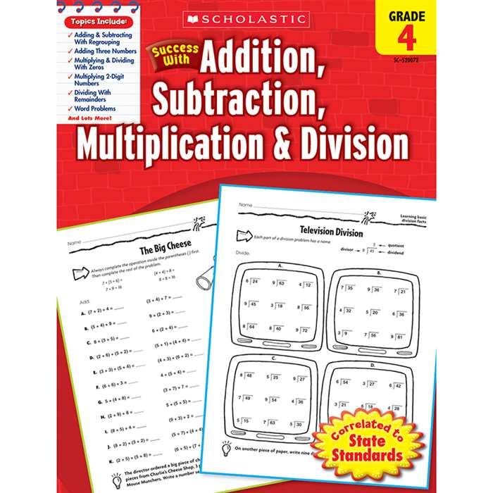 Scholastic Success Gr 4 Addition Subtraction Multiplication Division By Scholastic Books Trade