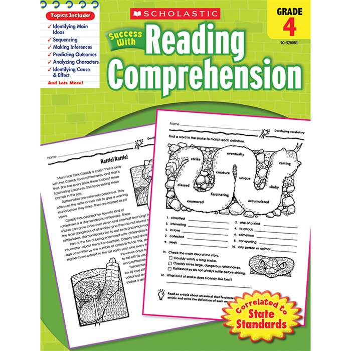 Scholastic Success With Reading Comprehension Gr 4 By Scholastic Books Trade
