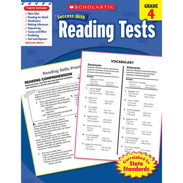 Scholastic Success With Reading Tests Gr 4 By Scholastic Books Trade