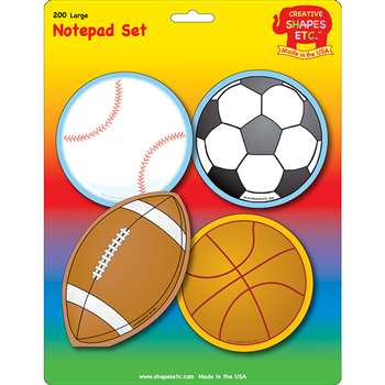 Creative Shapes Notepad Sports Set Large By Creative Shapes Etc