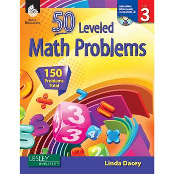 52 Leveled Math Problems Level 3 W/ Cd By Shell Education