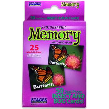 Insects & Bugs Photographic Memory Matching Game By Stages Learning Materials