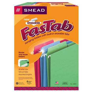Smead 18Ct Asst Colors Erasable Fastab Hanging Fol, SMD64031