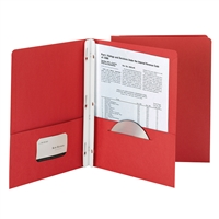 Smead 25Ct Red Two Pocket Folders With Fasteners, SMD88024