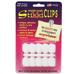 Stikkiclips 30 White Clips Per Pkg. By The Stikkiworks