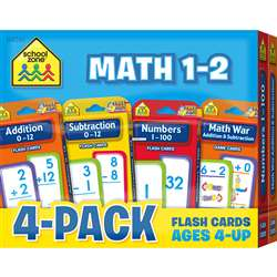 Math 1-2 Flash Cards 4 Pack, SZP04046