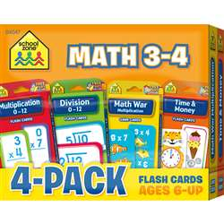 Math 3-4 Flash Cards 4 Pack, SZP04047