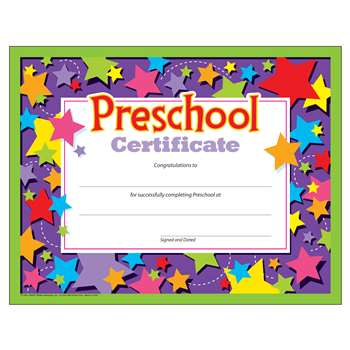 Preschool Certificate By Trend Enterprises