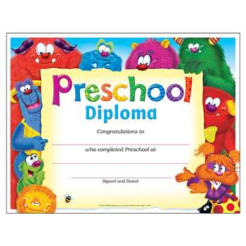 Preschool Diploma Furry Friends By Trend Enterprises