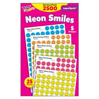 Superspots Stickers Neon 2500/Pk Smiles By Trend Enterprises