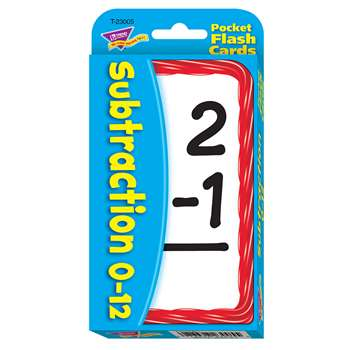Pocket Flash Cards 56-Pk 3 X 5 Subtraction Two-Sided Cards By Trend Enterprises