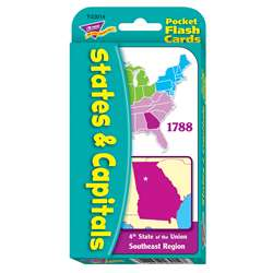 Pocket Flash Cards 56-Pk States And Capitals 3 X 5 Two-Sided Cards By Trend Enterprises