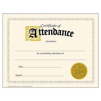 Classic Certificate Of 30/Pk Attendance 8-1/2 X 11 By Trend Enterprises