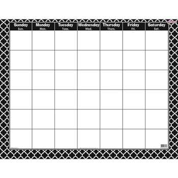 Moroccan Black Wipe Off Calendar Monthly, T-27023