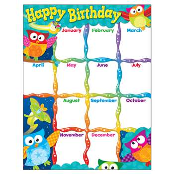 Happy Birthday Owl Stars Learning Chart By Trend Enterprises