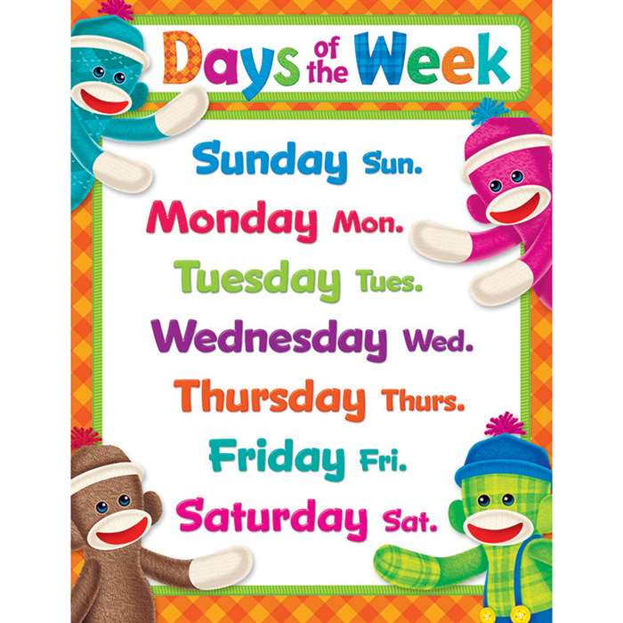 Sock Monkey Days Of The Week Learning Chart By Trend Enterprises