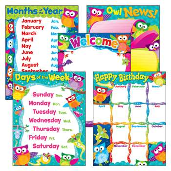 Owl Stars Charts Combo Pack By Trend Enterprises
