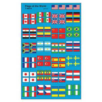 Flags Of The World Supershape Superspots/Shapes Stickers By Trend Enterprises